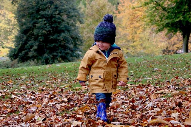 dítě a listí